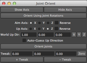 Joint Orient UI using qt designer and maya elements